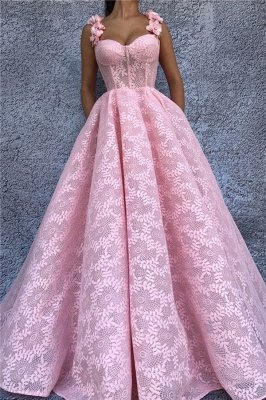 Exquisite Lace Sweetheart Pink Abendkleid | Chic Flower Straps ärmelloses langes Abendkleid_1