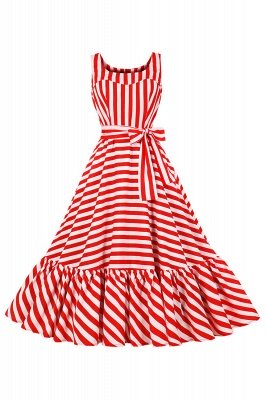 Alluring Round Neck Belted Stripes Fashion Beer Dresses | Tealength Women's Dresses