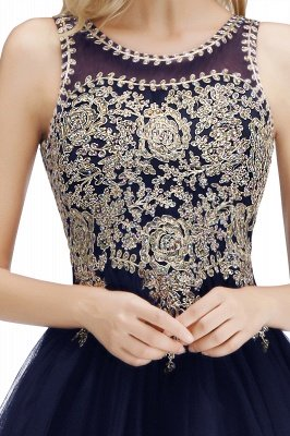 Cute Crew Neck Puffy Homecoming Dresses with Lace Appliques | Beaded Sleeveless Open back Black Teens Dress for Cocktail_25