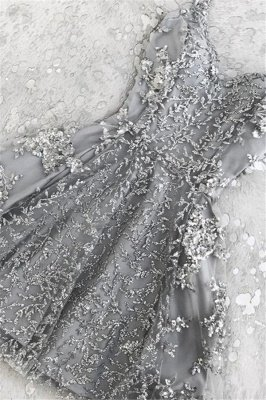Appliques Silver Short Homecoming Dresses | Beads Cheap Hoco Dress Online