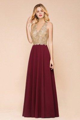 Великолепное бордовое вечернее платье без рукавов с v-образным вырезом | Дешевое Формальное Платье_9