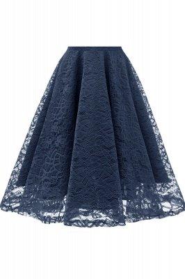 Elegante Spitze Vintage Rockabilly Kleid | Schöne V-Ausschnitt Damen Kleider A-Linie_19