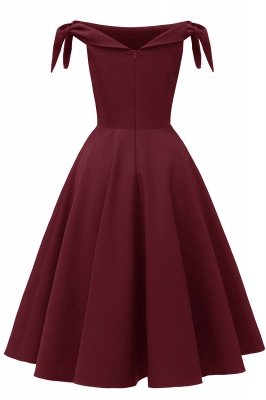 Womens Bateau Burgundy Navy Ruby Vintage Dresses | Retro Princess Short Party Dress_24