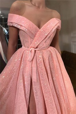 Sparkly Sequins Off the Shoulder Sweetheart Prom Dress   Sexy Sleeveless Front Slit Long Prom Dress_2