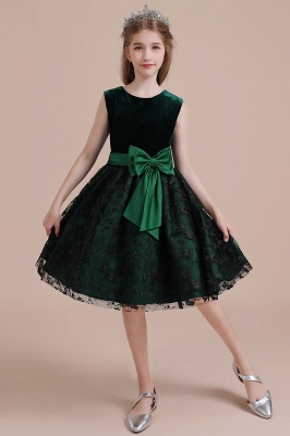 Autumn Knee Length Flower Girl Dress | Lace Velvet A-line Little Girls Pegeant Dress Online_8