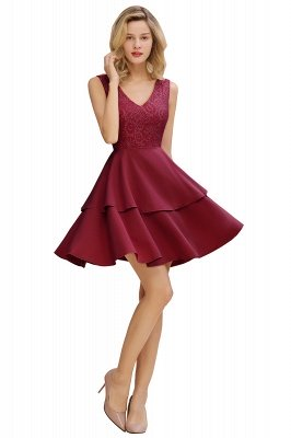 Sexy V-neck V-back Knee Length Homecoming Dresses with Ruffle Skirt | Burgundy, Navy, Pink Dress for Homecoming_11