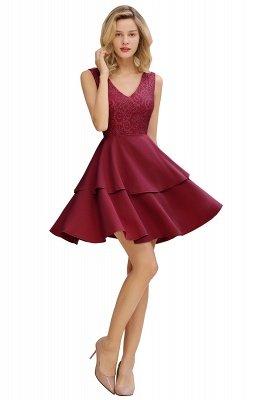 Sexy V-Ausschnitt V-Rücken knielangen Homecoming Kleider mit Rüschenrock | Burgunder, Marine, rosa Kleid für die Heimkehr_11