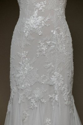Inexpensive Appliques Mermaid Wedding Dress | Charming V-neck Long Bridal Gowns_5