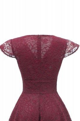 Elegante Spitze Vintage Rockabilly Kleid | Schöne V-Ausschnitt Damen Kleider A-Linie_14