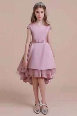Beautiful Satin High-low Flower Girl Dress   Cap Sleeve A-line Little Girls Dress for Wedding
