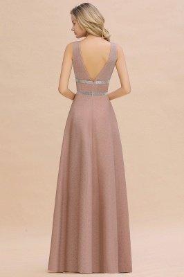 Sparkly Deep V-neck Long Evening Dresses with Shining Belt | Elegant Sleeveless V-back Pink Formal Dress_11