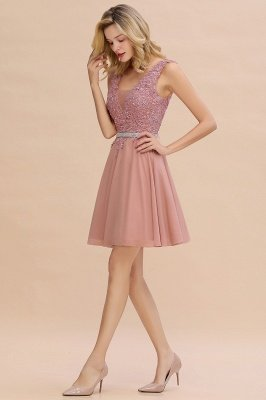 Cute Deep V-neck Short Sexy Sleeveless V-back Dusty Pink Knee length Womens Dress for Cocktail Party_7
