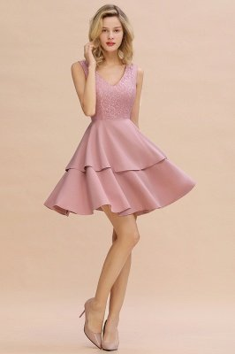 Sexy V-neck V-back Knee Length Homecoming Dresses with Ruffle Skirt | Burgundy, Navy, Pink Dress for Homecoming_13