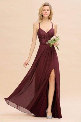 Weinrotes Brautjungfer Kleid Mit Spitze | Elegante Brautjungfrenkleider Mit Spaghettiträger_1