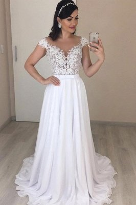 Fantastic Cap Sleeves V Neck Long Wedding Dress | Cheap  Lace Chiffon Bridal Gown