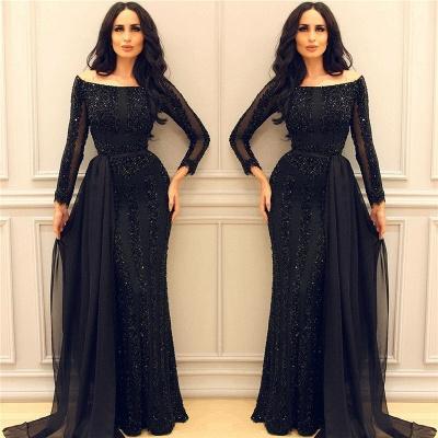 Granos negros de manga larga lentejuelas vestidos de noche | Vestidos de fiesta baratos atractivos de la envoltura del tren de la gasa 2021_3