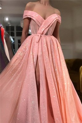 Sparkly Sequins Off the Shoulder Sweetheart Prom Dress | Sexy Sleeveless Front Slit Long Prom Dress