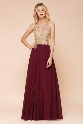Magnífico vestido de noche sin mangas con cuello en V borgoña | Vestido formal barato