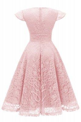 Elegante Spitze Vintage Rockabilly Kleid | Schöne V-Ausschnitt Damen Kleider A-Linie_8