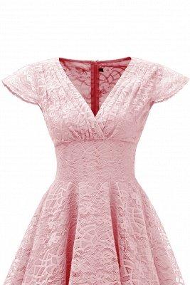 Elegante Spitze Vintage Rockabilly Kleid | Schöne V-Ausschnitt Damen Kleider A-Linie_9