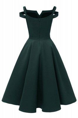 Mancherons sexy robes princesse vintage avec des sangles | Robe de cocktail en émeraude rétro à col en V pour femmes_10