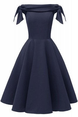 Womens Bateau Burgundy Navy Ruby Vintage Dresses | Retro Princess Short Party Dress_8