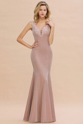 Sparkly Deep V-neck Long Evening Dresses | Elegant Flowers Neck Sleeveless Pink Floor-length Formal Dress_11