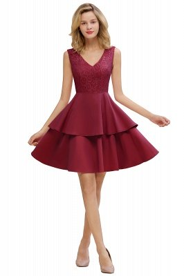 Sexy V-neck V-back Knee Length Homecoming Dresses with Ruffle Skirt | Burgundy, Navy, Pink Dress for Homecoming_2