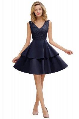 Sexy V-Ausschnitt V-Rücken knielangen Homecoming Kleider mit Rüschenrock | Burgunder, Marine, rosa Kleid für die Heimkehr_20