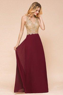 Великолепное бордовое вечернее платье без рукавов с v-образным вырезом | Дешевое Формальное Платье_8