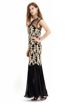 Beautiful Cap sleeves Long Black Cocktail Dresses | Shining Sequined Dress_11
