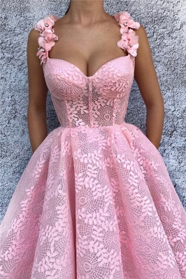Exquisite Lace Sweetheart Pink Abendkleid | Chic Flower Straps ärmelloses langes Abendkleid_2