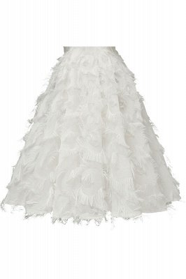 High neck Elegant Crew Neck Artificial Feather Dress Burgundy Princess Midi Dresses_18
