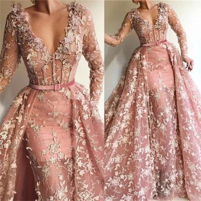 Sexy durchsichtig Tüll rosa langen Ärmeln Abendkleid | Charmante Meerjungfrau mit V-Ausschnitt Applikationen langen Abendkleid_3