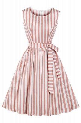 Amazing Stripes Belt Scoop Sleeveless A-line Fashion Dresses | Knee-Length Women's Dresses