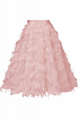 High neck Elegant Crew Neck Artificial Feather Dress Burgundy Princess Midi Dresses_10