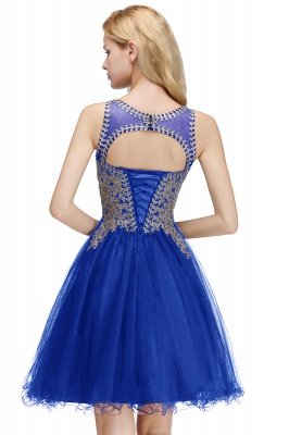 Cute Crew Neck Puffy Homecoming Dresses with Lace Appliques | Beaded Sleeveless Open back Black Teens Dress for Cocktail_13