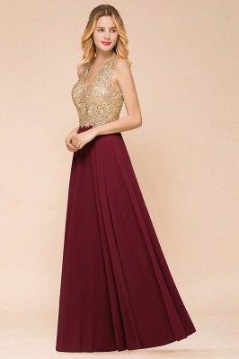 Великолепное бордовое вечернее платье без рукавов с v-образным вырезом | Дешевое Формальное Платье_15