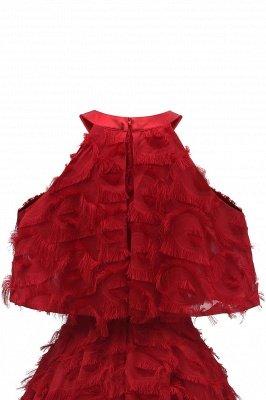 High neck Elegant Crew Neck Artificial Feather Dress Burgundy Princess Midi Dresses_15