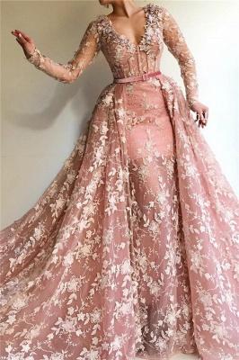 Sexy durchsichtig Tüll rosa langen Ärmeln Abendkleid | Charmante Meerjungfrau mit V-Ausschnitt Applikationen langen Abendkleid_1