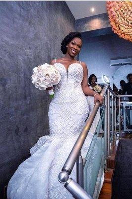 Robes de mariée de luxe en dentelle perlée sirène sweetheart | Appliques spaghetti-sangles robes de mariée pas cher_2