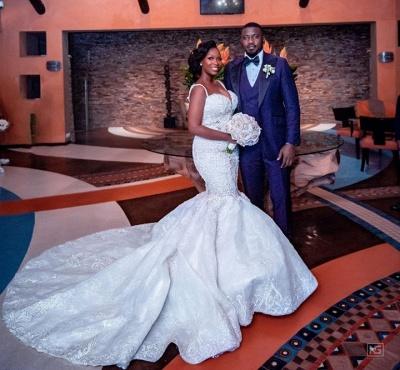 Robes de mariée de luxe en dentelle perlée sirène sweetheart | Appliques spaghetti-sangles robes de mariée pas cher_4