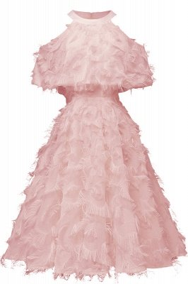 High neck Elegant Crew Neck Artificial Feather Dress Burgundy Princess Midi Dresses_2