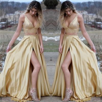 Vestidos de noche con cuello en V y dos piezas de oro sexy | Vestido de fiesta de cristales sin mangas con cuello en V BA9797_3