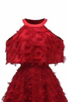 High neck Elegant Crew Neck Artificial Feather Dress Burgundy Princess Midi Dresses_13