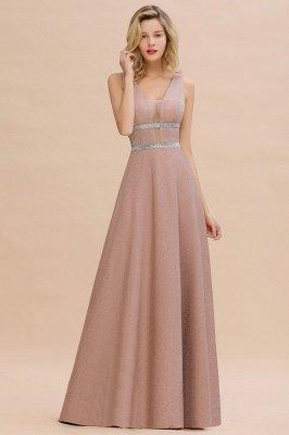 Sparkly Deep V-neck Long Evening Dresses with Shining Belt | Elegant Sleeveless V-back Pink Formal Dress_7