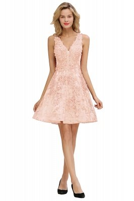 Princess V-neck Knee Length Lace Appliqued Homecoming Dresses | Burgundy Dress for Homecoming_1