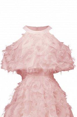 High neck Elegant Crew Neck Artificial Feather Dress Burgundy Princess Midi Dresses_9