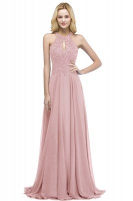 PANSY | A-line Keyhole Neckline Halter Long Beading Prom Dresses_1