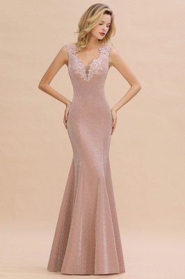 Sparkly Deep V-neck Long Evening Dresses | Elegant Flowers Neck Sleeveless Pink Floor-length Formal Dress_1